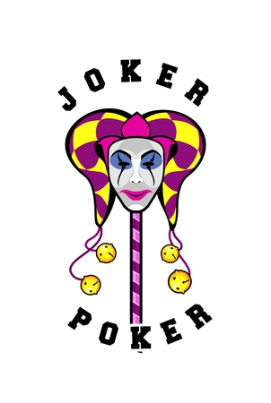 vector illustration of a joker in a mask on a white background playing card Illustration
