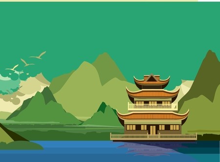 east river: vector illustration of an old Buddhist temple on the banks of the river in the highlands Illustration