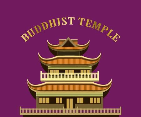 monasteries: vector illustration of an old Buddhist temple on a purple background Illustration