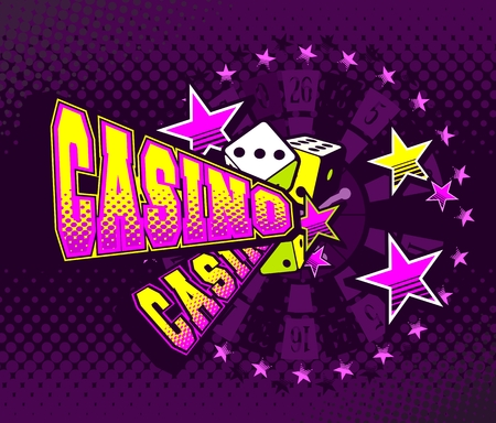 vector illustration letters casino and a variety of elements and characters on a bright background