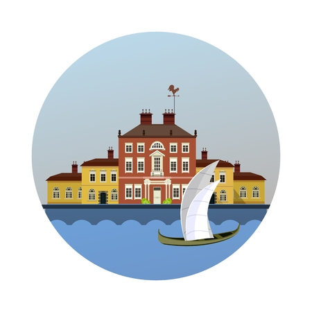 vector illustration round emblem of ancient estate on the river with sailboat
