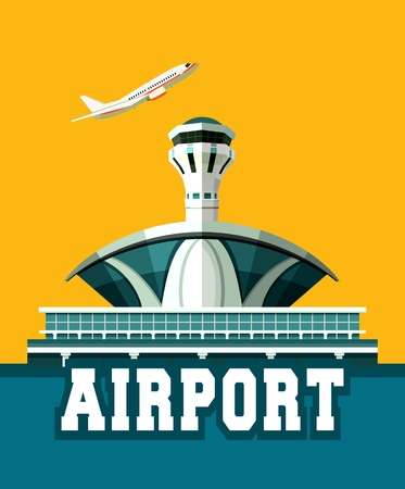 taking off: vector illustration poster plane taking off the airport building retro poster