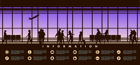 picture window: vector illustration of the airport building waiting room large picture window, people silhouettes, mourners, horizontal poster, an information board with icons and text Illustration