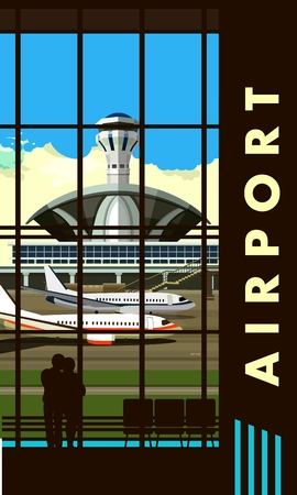 picture window: vector illustration of the airport building waiting room large picture window, people silhouettes, vertical poster,