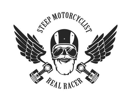 vector embleem retro motorrijder oude schedel in een motorhelm zwart-wit