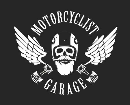ブラック ホワイトのオートバイのヘルメットのベクトル紋章レトロなモーターサイク リスト オールド スカル