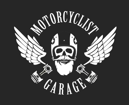 vector emblem retro motorcyclist old skull in a motorcycle helmet on a black white