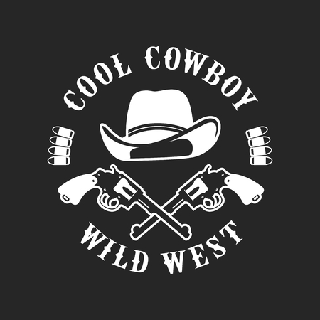 vector emblem conventionally circular shape on a cowboy theme, design element, isolated on white background