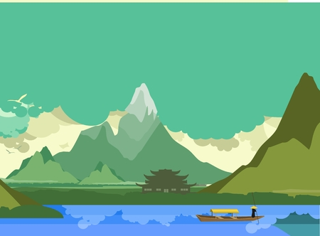 river banks: vector illustration of an old Buddhist temple on the banks of the river in the highlands of the boat floats down the river