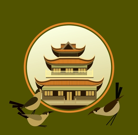 place of worship: vector illustration of an old Buddhist temple in a circular shape on a green background decorated with birds