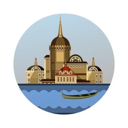vector illustration round emblem of ancient estate on the river floats your boat Illustration