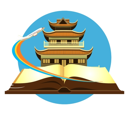 buddhist temple: vector illustration round emblem of the Buddhist temple on the open book of the aircraft taking off