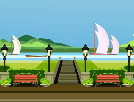 lawn chair: vector illustration of a park with benches on the shore of the river sail sailboats