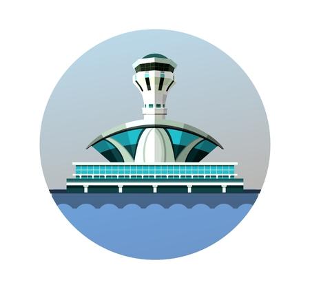 vector emblem round shape, design element, the airport building Illustration