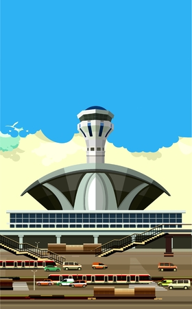 vector illustration of the airport building next to vehicle parking Illustration