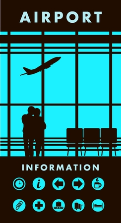 picture window: vector illustration of the airport building waiting room large picture window, people silhouettes, mourners, vertical poster,