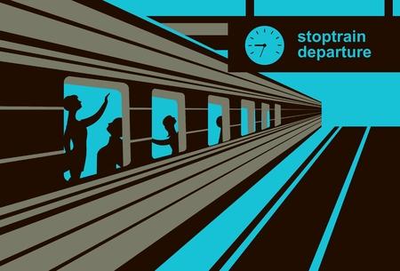 pullman: vector illustration train station platform train with passengers abstraction