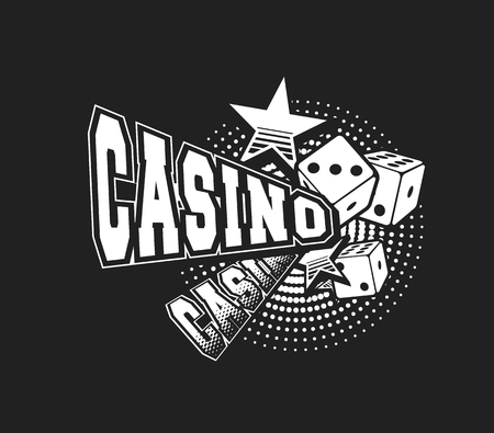 vector illustration letters casino and a variety of elements and signs black and white