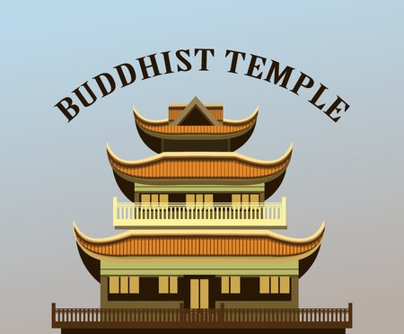 place of worship: vector illustration of an old Buddhist temple on a purple background Illustration