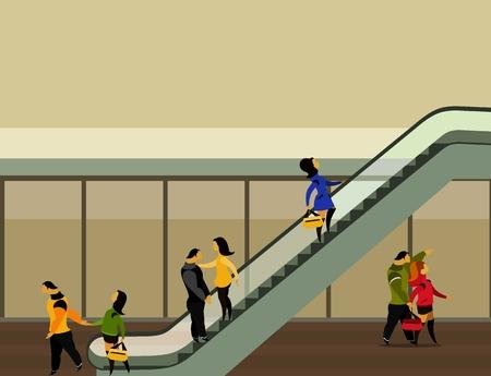 vector illustratie van de supermarkt gebouw mensen omhoog te bewegen op de roltrap