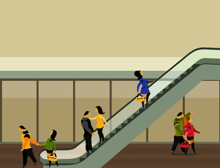 vector illustration of the supermarket building people moving up on the escalator