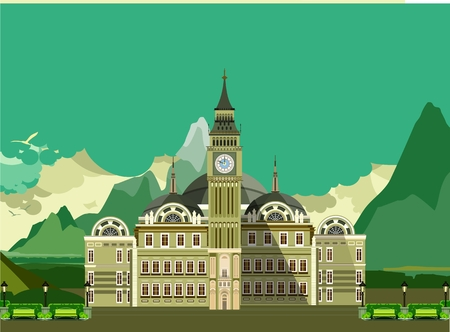 streetlight: vector illustration of an old castle with towers and beautiful facade