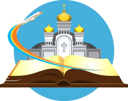 in monastery: vector emblem orthodox church on the pages of an open book, flying in the sky plane, traveling to beautiful places