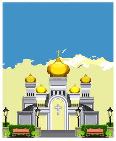 holy place: vector illustration of the Orthodox church with gold domes against the sky