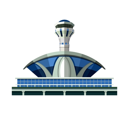 vector emblem, design element, the airport building isolated on white background Illustration