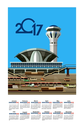 vector illustration calendar 2017 airport building next to vehicle parking Illustration