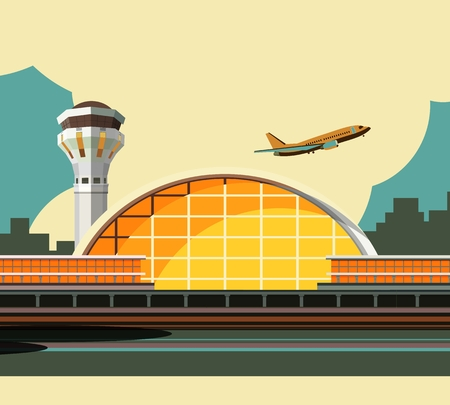 vector illustration of the airport building on city background in retro style and colors Illustration