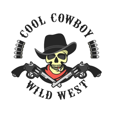 illustration of a skull wearing a hat in a retro style with the Colts mascot weapons Illustration