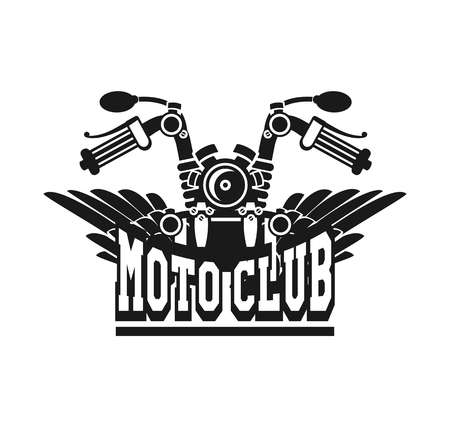 motorcycle club emblem retro bike with wings on a white background