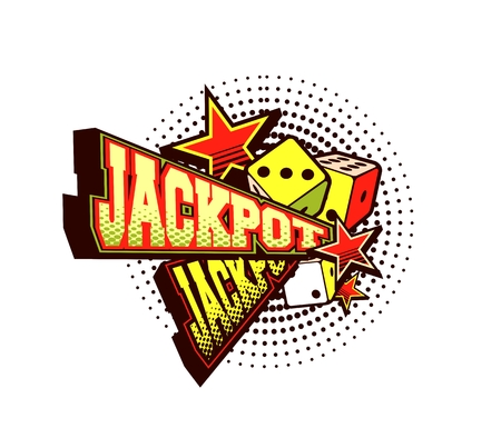 illustration of the letters and signs jackpot casino symbols on white background Illustration