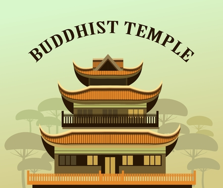 in monastery: illustration of an old Buddhist temple with a garden Illustration