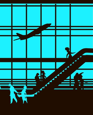 picture window: illustration of the airport building waiting room large picture window, people silhouettes, mourners, vertical poster, the movement of the escalator to the upper floors Illustration