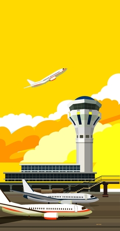 runway: illustration of a building near the airport runway and aircraft