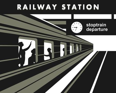 pullman: illustration train station platform train with passengers abstraction
