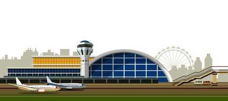 illustration of the airport building on a white background