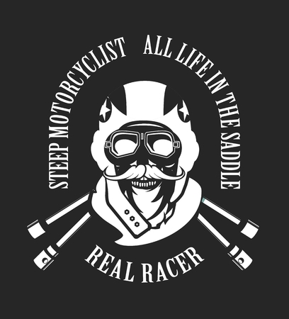 motorcyclist: vector emblem retro motorcyclist old skull in a motorcycle helmet on a black white