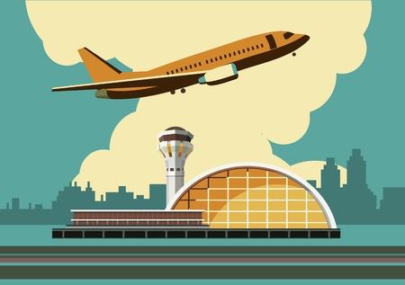 空港のレトロなスタイルと水平成分の色で街の背景に建物のベクトル イラスト