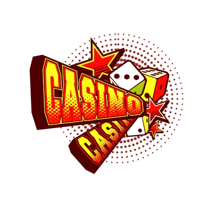 vector illustration letters casino and a variety of elements and signs on white background