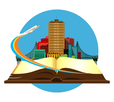 vector illustration round emblem metropolis with a bridge on the open book of the aircraft taking off Illustration