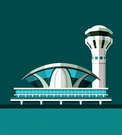 airport arrival: vector illustration poster plane taking off the airport building retro poster