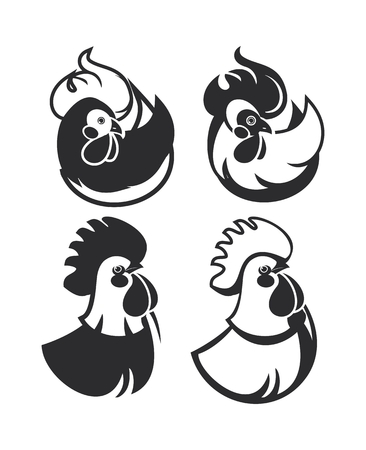 set of vector emblems badges cock on a white background