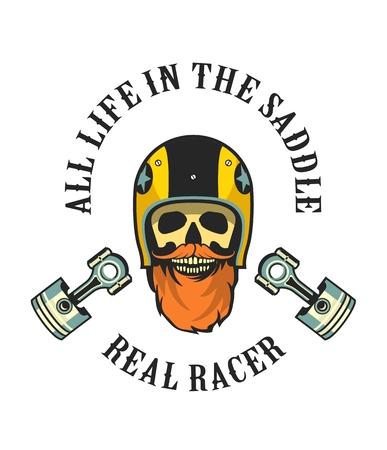 motociclista: vector emblema motorista retro viejo cráneo en un casco de motocicleta Vectores
