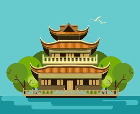buddhist temple: vector illustration of an old Buddhist temple with a garden