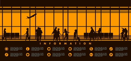 picture window: vector illustration of the airport building waiting room large picture window, silhouettes of people, information board with text icons