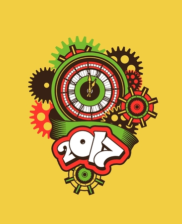 turns of the year: vector illustration of a clock face surrounded by mechanical parts and wrap holiday banner digits of the year Illustration