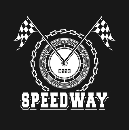 emblem racing: vector illustration emblem Racing, speedometer checkered flags